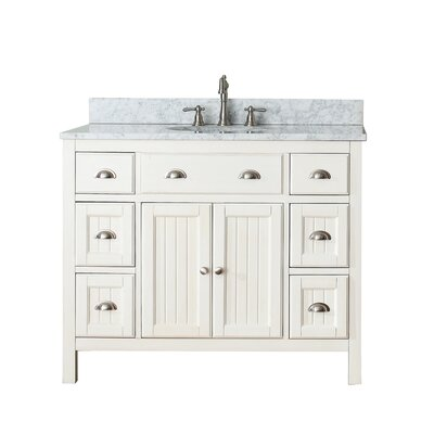 Hamilton 43 Single Bathroom Vanity Set Top Finish: Carrera White Marble