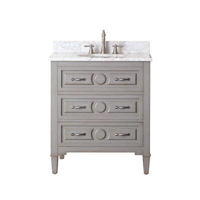 Kelly 31 Single Bathroom Vanity Set Top Finish: Carrera White Marble