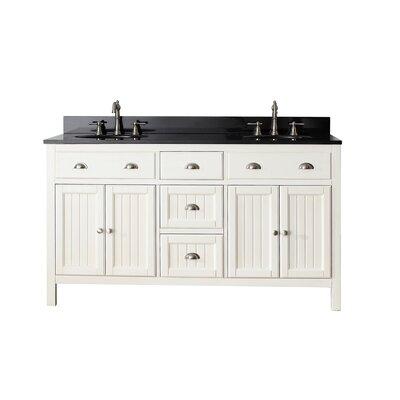 Bunker Hill 61 Double Bathroom Vanity Set Top Finish: Black Granite