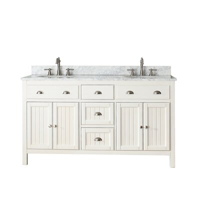 Bunker Hill 61 Double Bathroom Vanity Set Top Finish: Carrera White Marble