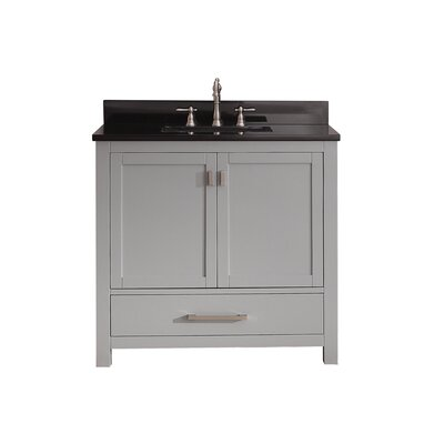 Modero 37 Single Bathroom Vanity Set Top Finish: Black Granite
