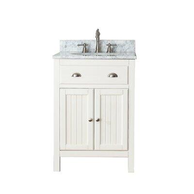 Hamilton 25 Single Bathroom Vanity Set Top Finish: Carrera White Marble