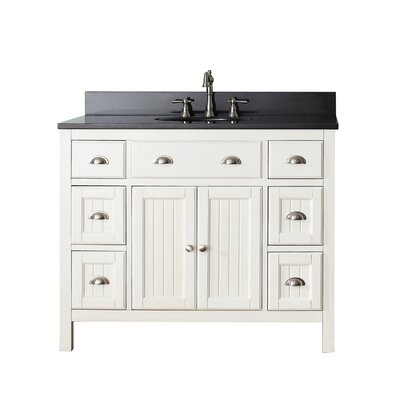 Hamilton 43 Single Bathroom Vanity Set Top Finish: Black Granite