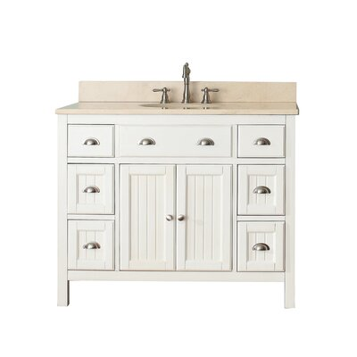 Bunker Hill 43 Single Bathroom Vanity Set Top Finish: Galala Beige Marble