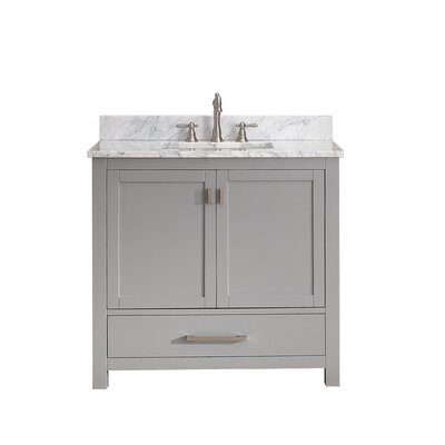 Modero 37 Single Bathroom Vanity Set Top Finish: Carrera White Marble