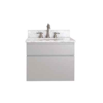 Tribeca 25 Single Wall Mounted Bathroom Vanity Set Top Finish: Carrera White Marble