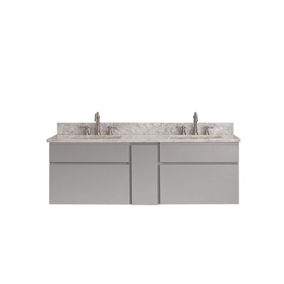 Tribeca 61 Double Wall Mounted Bathroom Vanity Set Top Finish: Carrera White Marble