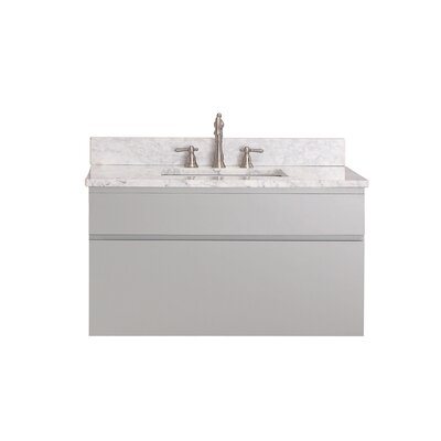 Tribeca 37 Single Wall Mounted Bathroom Vanity Set Top Finish: Carrera White Marble