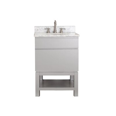 Tribeca 25 Single Bathroom Vanity Set Top Finish: Carrera White Marble