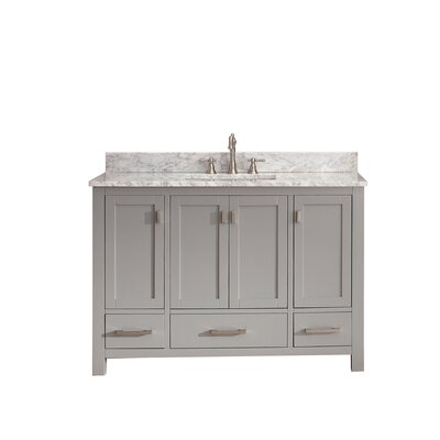 Modero 49 Single Bathroom Vanity Set Top Finish: Carrera White Marble