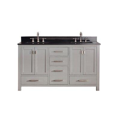 Modero 61 Double Bathroom Vanity Set Top Finish: Black Granite