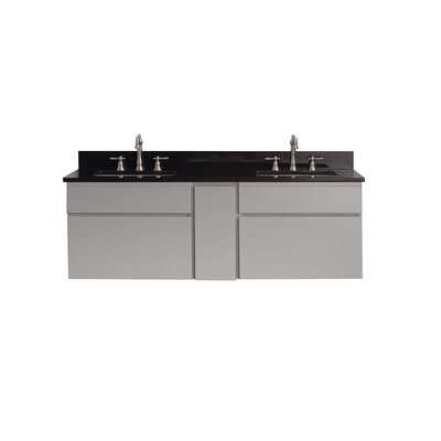 Tribeca 61 Double Wall Mounted Bathroom Vanity Set Top Finish: Black Granite