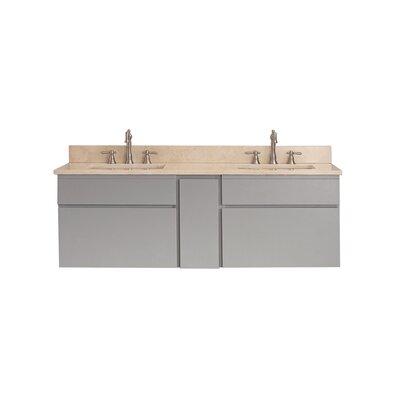 Tribeca 61 Double Wall Mounted Bathroom Vanity Set Top Finish: Galala Beige Marble