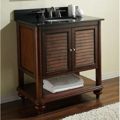 Tropica 25 Single Bathroom Vanity Set Base Finish: Antique Brown, Top Finish: Black Granite