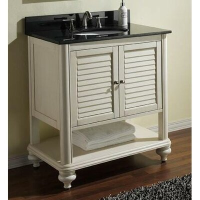 Tropica 25 Single Bathroom Vanity Set Base Finish: Antique White, Top Finish: Galala Beige