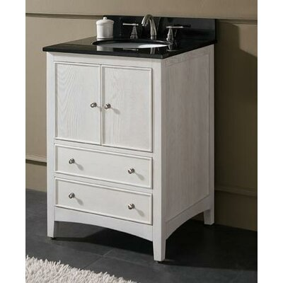 Westwood 25 Single Bathroom Vanity Set Base Finish: White Washed, Top Finish: Galala Beige