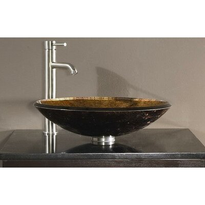 Tempered Glass Vessel Circular�Vessel�Bathroom�Sink Sink Finish: Metallic Copper