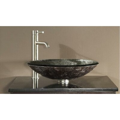 Tempered Glass Vessel Circular�Vessel�Bathroom�Sink Sink Finish: Metallic Silver