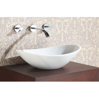 Stone Oval Vessel Bathroom Sink Sink Finish: White Marble
