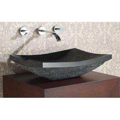Stone Rectangular Vessel Bathroom Sink Sink Finish: Black Granite Rough Exterior