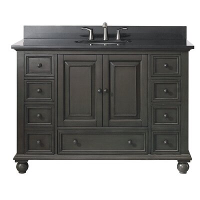 Thompson 49 Single Modern Bathroom Vanity Set Base Finish: Charcoal Glaze, Top Finish: Black Granite