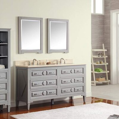 Kelly 61 Double Modern Bathroom Vanity Set Top Finish: Carrera White