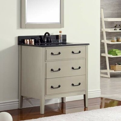 Delano 31 Single Modern Bathroom Vanity Set Base Finish: Taupe Glaze, Top Finish: Black Granite