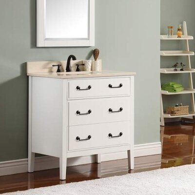 Delano 31 Single Modern Bathroom Vanity Set Base Finish: White, Top Finish: Galala Beige