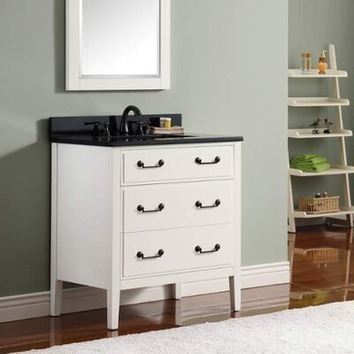 Delano 31 Single Modern Bathroom Vanity Set Base Finish: White, Top Finish: Black Granite