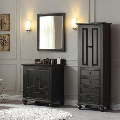 Thompson 31 Single Modern Bathroom Vanity Set Base Finish: Charcoal Glaze, Top Finish: Black Granite