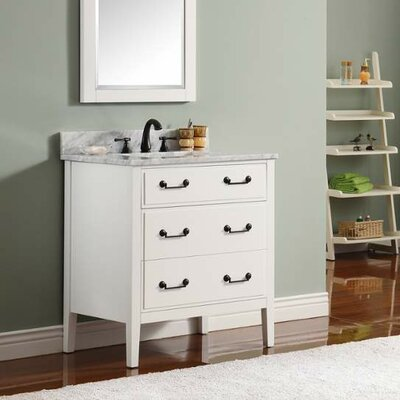 Delano 31 Single Modern Bathroom Vanity Set Base Finish: White, Top Finish: Carrera White