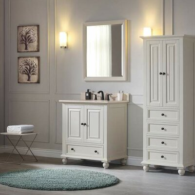 Thompson 31 Single Modern Bathroom Vanity Set Top Finish: Carrera White, Base Finish: French White