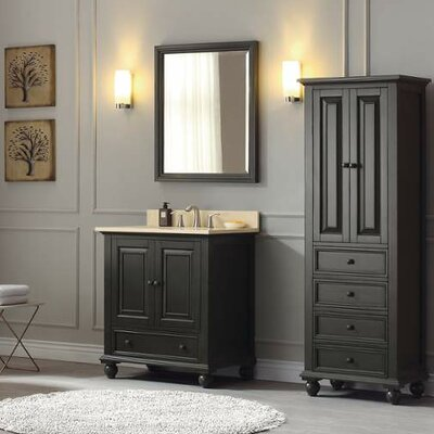 Thompson 31 Single Modern Bathroom Vanity Set Base Finish: Charcoal Glaze, Top Finish: Carrera White
