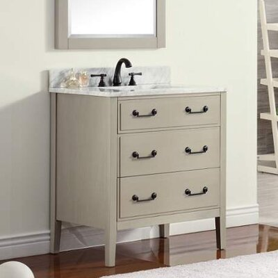 Delano 31 Single Modern Bathroom Vanity Set Base Finish: Taupe Glaze, Top Finish: Carrera White