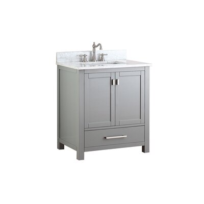 Modero 31 Vanity Set Base Finish: Chilled Gray, Top Finish: Carrera White Marble