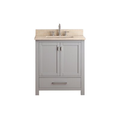 Modero 31 Vanity Set Base Finish: Chilled Gray, Top Finish: Galala Beige Marble