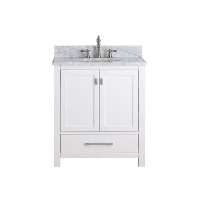 Modero 31 Vanity Set Base Finish: White, Top Finish: Carrera White Marble
