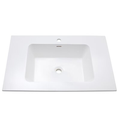 VersaStone Solid Surface 31 Single Bathroom Vanity Top Top Finish: Glossy