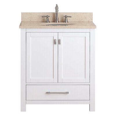 Modero 31 Vanity Set Base Finish: White, Top Finish: Beige Marble