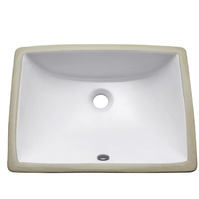Vitreous China Rectangular Undermount Bathroom Sink with Overflow