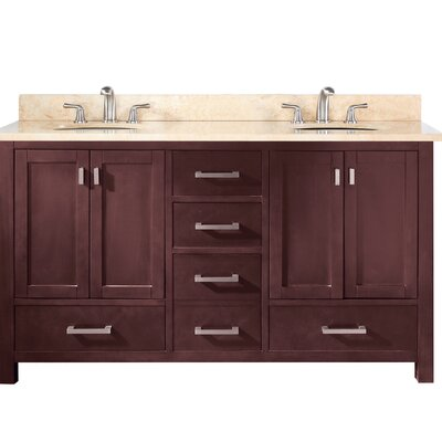 Modero 60 Double Vanity Base Finish: Espresso, Top Finish: Beige Marble