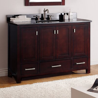 Modero 49 Single Bathroom Vanity Set Top Finish: Black Granite