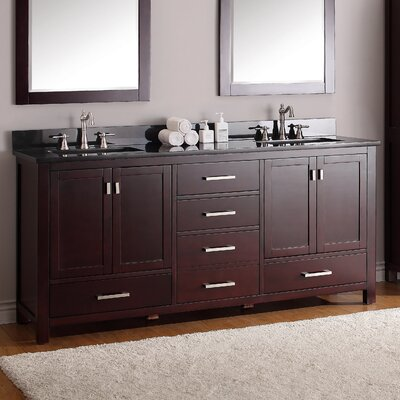 Modero 73 Double Bathroom Vanity Set Top Finish: Black Granite