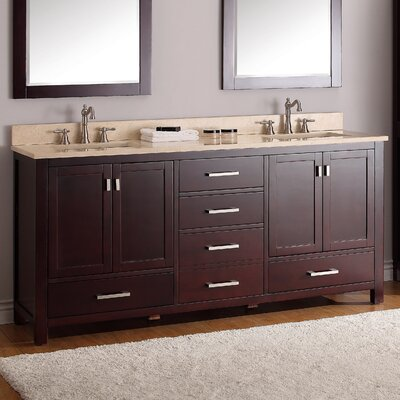 Modero 73 Double Bathroom Vanity Set Top Finish: Beige Marble