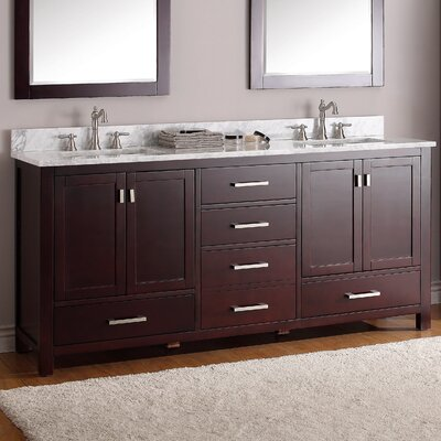 Modero 73 Double Bathroom Vanity Set Top Finish: Carerra White