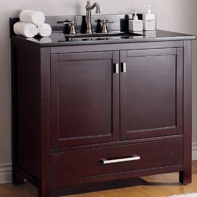 37 Single Bathroom Vanity Set Top Finish: Black Granite