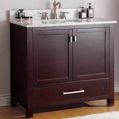 37 Single Bathroom Vanity Set Top Finish: Carerra White