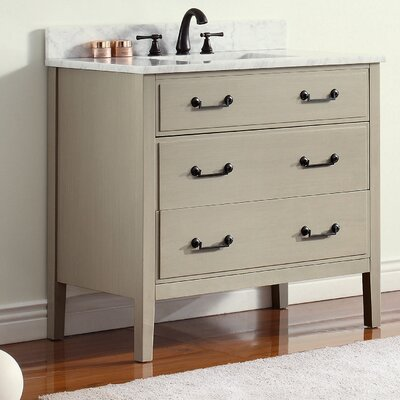 Delano 37 Single Modern Bathroom Vanity Set Base Finish: Taupe Glaze, Top Finish: Black Granite