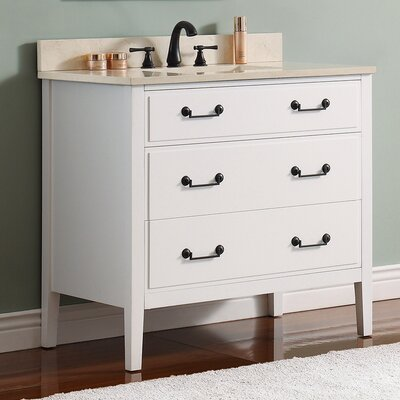 Delano 37 Single Modern Bathroom Vanity Set Base Finish: White, Top Finish: Galala Beige