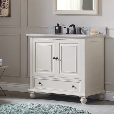 Thompson 37 Single Modern Bathroom Vanity Set Top Finish: Carrera White, Base Finish: French White